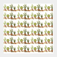 Potted Cactus Plant Rows Pattern Square Art Prints | Artist : Seema Hooda