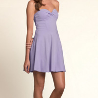 Plain Cotton Strapless Slim Dress