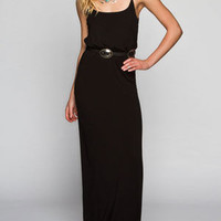Full Tilt Basic Cinch Waist Maxi Dress Black  In Sizes