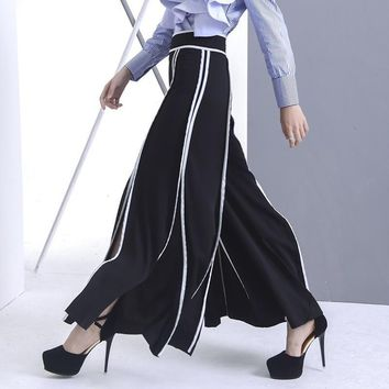Wide Leg White Piping Palazzo Pant