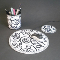 WHITE/BLACK SWIRL & Bling Computer Desk Set