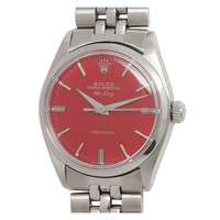 Rolex Stainless Steel Air-King Wristwatch with custom Tomato Red Dial circa 1962
