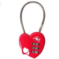 Travel TSA Customs luggage lock metal red heart style with three layer password anti-theft lock 2 pcst/set free shipping 13325