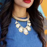 Gold Crystal Geometric Statement Necklace  one size by Erica L
