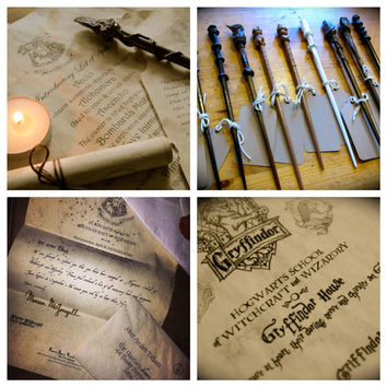 The Complete Hogwarts Acceptance Letter  Kit Personalized Harry Potter Letter Set on Parchment