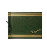 Vintage Photo Album Scrapbook Dark Green and Gold - Photographs - 40 Unused Tan Pages