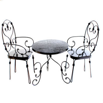 1/6 scale Table and 2 Chairs bistro set for dolls (Blythe, Barbie, Bratz, Momoko). French style