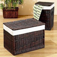 Isabella Dark Brown Willow Trunk or Hamper | Hampers and Laundry Baskets | World Market