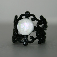 Snow White Color Shifting Black Enamled Cuff Ring