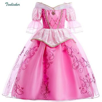 Princess Aurora Dress for Girls Sleeping Beauty Cosplay Costume Kids Christmas Party Dress Children Halloween Clothes 3-10 Years