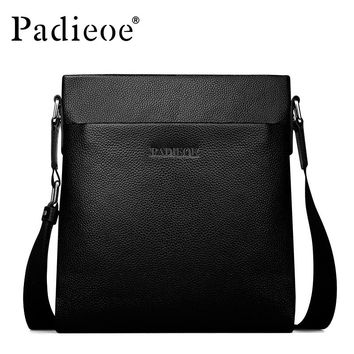 Real Cowhide Leather Bag Shoulder Handbags Litchi grain Men Messenger Bags Small Men's Sling Bags