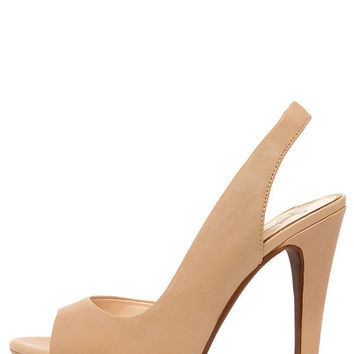 Jessica Simpson Sabella Natural Leather Slingback Platform Heels