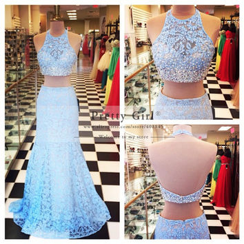Elegant Light Blue Lace Long Mermaid Evening Gowns Party Dress 2016 vestidos Sexy Backless Pearls Beaded Two Piece Prom Dresses