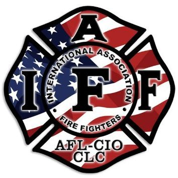 American Flag Maltese Cross IAFF Sticker (Fire Fighters firefighter decal)