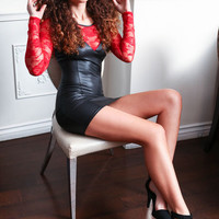 LEATHER AND LACE VAMP DRESS