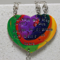 Heart Shaped Puzzle Necklaces Set of 4 Interlocking Necklaces Rainbow Polymer Clay