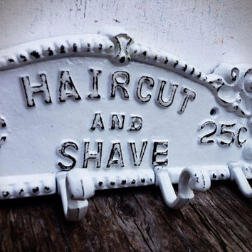 Shave & Haircut Wall Rack - Bright Snowy White - Vintage Inspired Barber Sign Shabby Chic