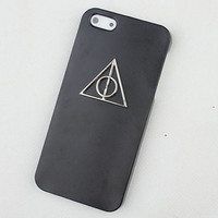 Black Hard Case Cover With Deathly Hallows Harry Potter for Apple iPhone5 Case, iPhone 5 Cover,iPhone 5s Case, iPhone 5gs