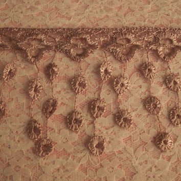 Lace Fringe Trim,Mauve,Victorian Style Lace ,Venise Lace Trim,Bridal Accessories,Altered art,Scrapbooking,Doll Apparel,Decorative Lace Trim