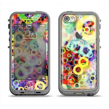 The Rainbow Colored Unfocused Light Circles Apple iPhone 5c LifeProof Fre Case Skin Set