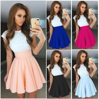 High Waist Mini Party Skirt Dress -9 Color Options-