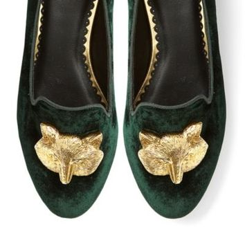Fox Head Velvet Slipper Loafer | Ballets & Flats | Shoes | Categories | C. Wonder