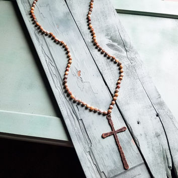 Frosted Crazy Agate Necklace with Burnished Copper Cross 234Y