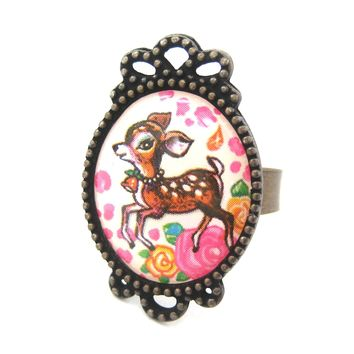 Oval Bambi Deer Illustrated Adjustable Ring with Floral Details | Animal Jewelry
