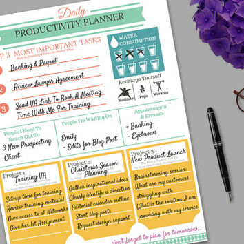 Daily Productivity Planner Template