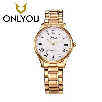 ONLYOU Lovers Watches Top Brand Luxury Famous Watch Male Clock Golden Quartz WristWatch Calendar Roman Numeral Watches Wholesale
