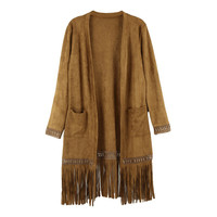 Brown Faux Suede Double Pocket Fringed Cardigan
