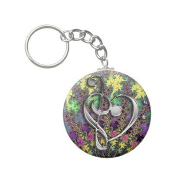 Music Treble Bass Clef Heart on Colorful Fractal from Zazzle.com