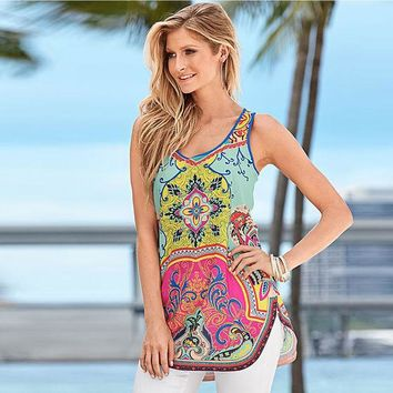 ONETOW 2016 New Arrival Sexy Women Summer Printed Vest Top Sleeveless Side Split Beach Shirt Blouse Tank Tops Free Shipping