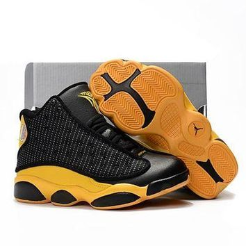 Kids Air Jordan 13 Retro Black/Yellow Sport Shoe US 11C - 3Y