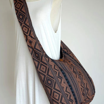 HMONG ETHNIC - Printed Cotton Bag, Hill Tribe, Cross body, Shoulder, Boho, Hobo, Sling Bag, Handbag, Purse NWD850