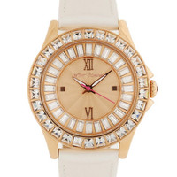 Betsey Johnson Ladies White Round Glitz Watch