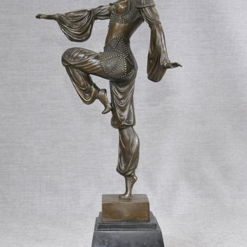 Canonbury - French Bronze Chiparus Art Deco Bronze Exotic Dancer Figurine