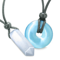 Yin Yang Powers His Hers Love Couples Crystal Point Lucky Donut White Sky Blue Cats Eye Amulet Necklaces