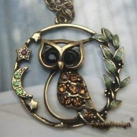 Handmade Brass Crystal Owl design Pendant necklace - Other