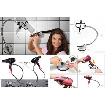 360 degree Swivel Bathroom Hair Dryer Holder Beauty Hair Dry Sunction