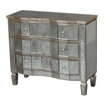 Torino Chest Antique Mirror,Champagne Silver Leaf