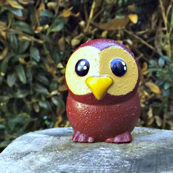 The Owlet Handmade resin and clay figurine Owl miniature