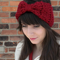 HEADBAND - EAR WARMERS -  Crochet Headband Earwarmer in Cranberry Red - Hair Accessories Headband - Big Hair Bows Headband - Valentines Day