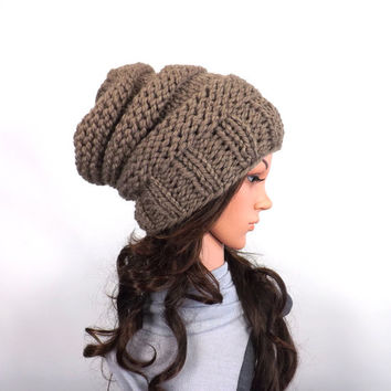 Chunky Extra Slouchy Hat Beanie Toque // The Arena // in Taupe