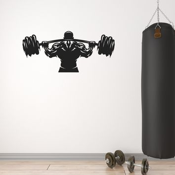 Vinyl Wall Decal Sport Man Weightlifter Athlete Barbell Stickers Mural (g009)