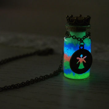 Glow in the dark Jewelry, 'Glow- in- the- dark' Necklace, Glowing Necklace, Rainbow Glowing Glass bottle necklace, Glowing pendant