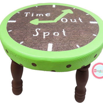 Time Out Stool, Step Stool, Personalized Stool, Nursery Furniture, Time out Bench, hand painted stool, wood stool, wooden stool, kids stool