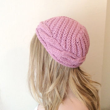 Lovely Pink Knitting Hat, Cap or Turban