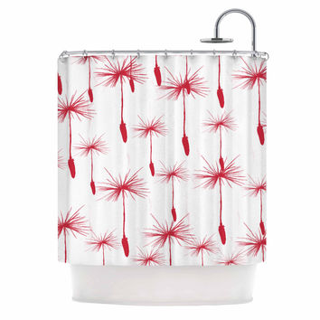 "Suzanne Carter ""Dandelion"" Red Floral Shower Curtain"