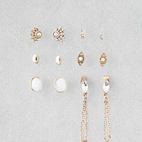 AEO Draped Chain Studs Earring 6-Pack, Gold